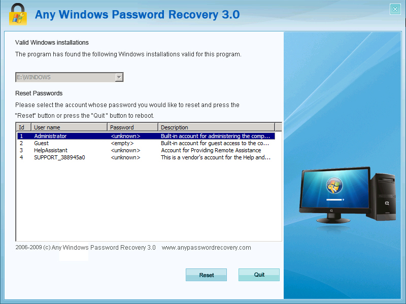 Windows Password Recovery Tool = Any Windows Password Recovery 3.0 1