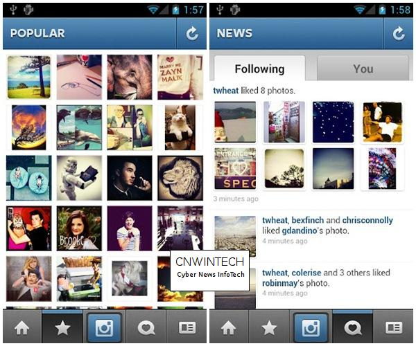Instagram application Comes in the Android Platform 4