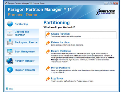 Partition Manager Personal Edition Performance Review, Manage Multiple Operating Systems 1